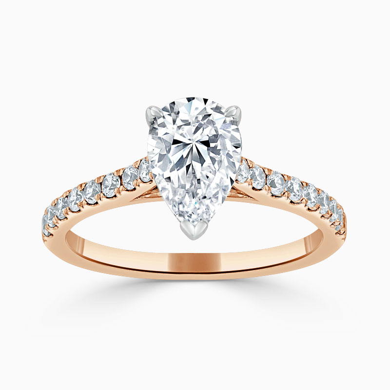 18ct Rose Gold Pear Shape Classic Wedfit Cutdown Engagement Ring