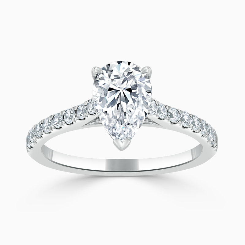 18ct White Gold Pear Shape Classic Wedfit Cutdown Engagement Ring
