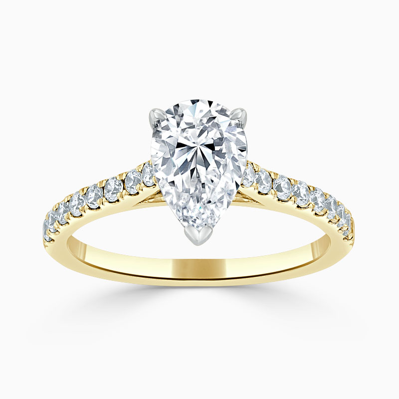 18ct Yellow Gold Pear Shape Classic Wedfit Cutdown Engagement Ring