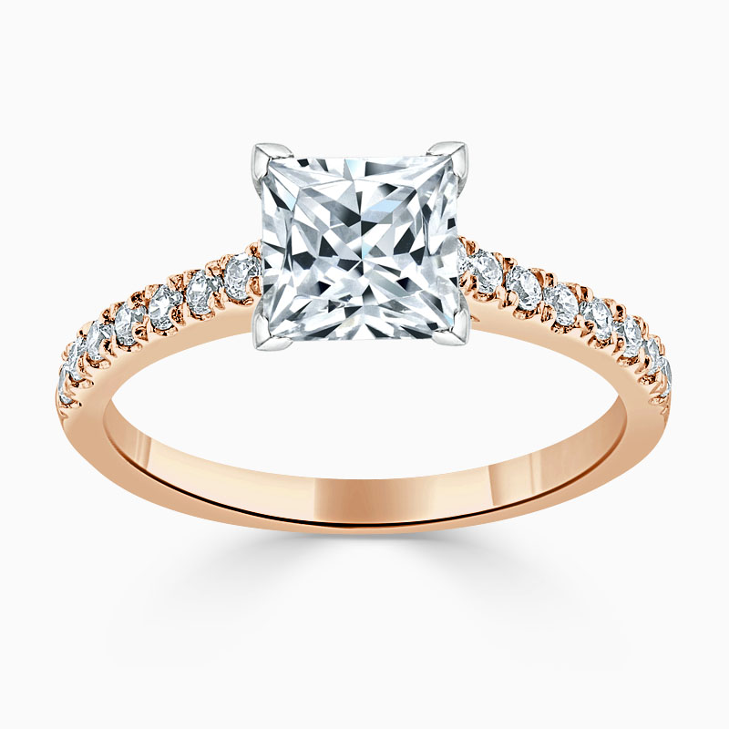 18ct Rose Gold Princess Cut Classic Wedfit Cutdown Engagement Ring
