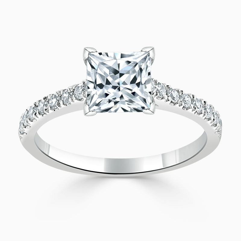 18ct White Gold Princess Cut Classic Wedfit Cutdown Engagement Ring
