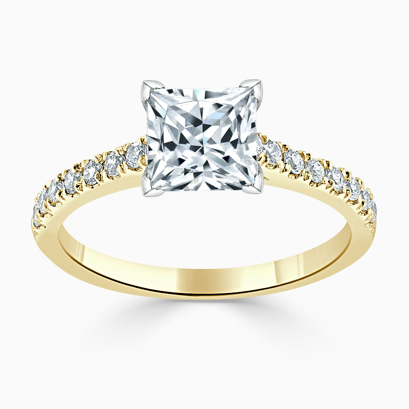 18ct Yellow Gold Princess Cut Classic Wedfit Cutdown Engagement Ring