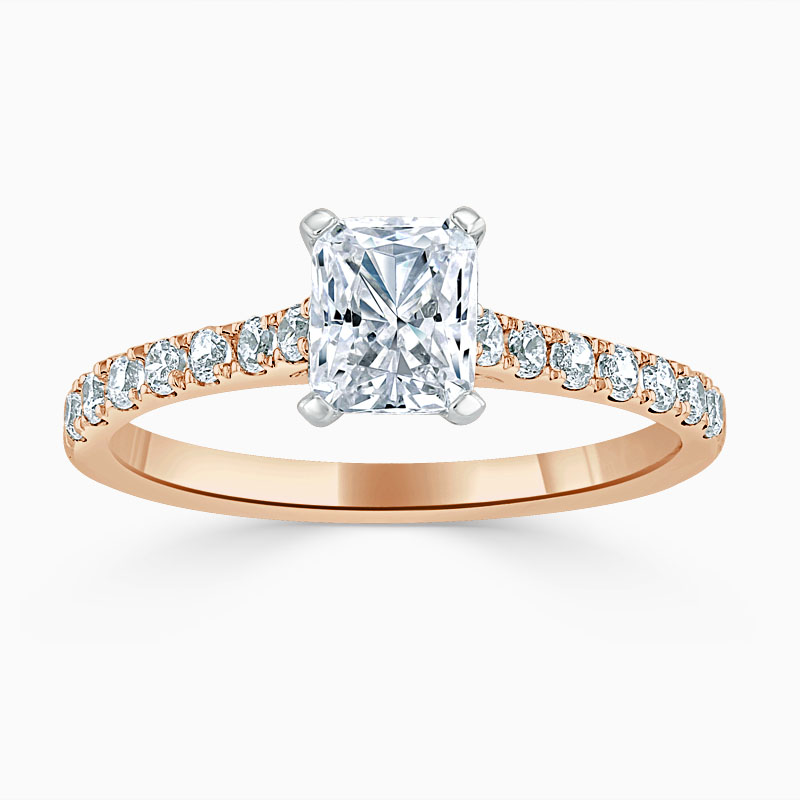 18ct Rose Gold Radiant Cut Classic Wedfit Cutdown Engagement Ring