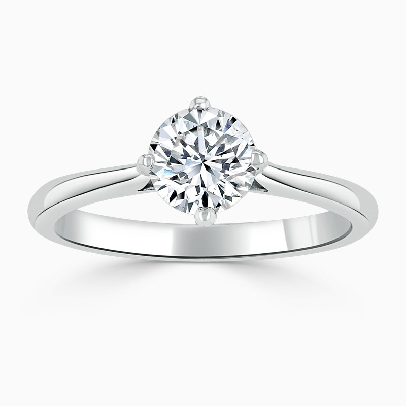 Platinum Round Brilliant Compass Engagement Ring