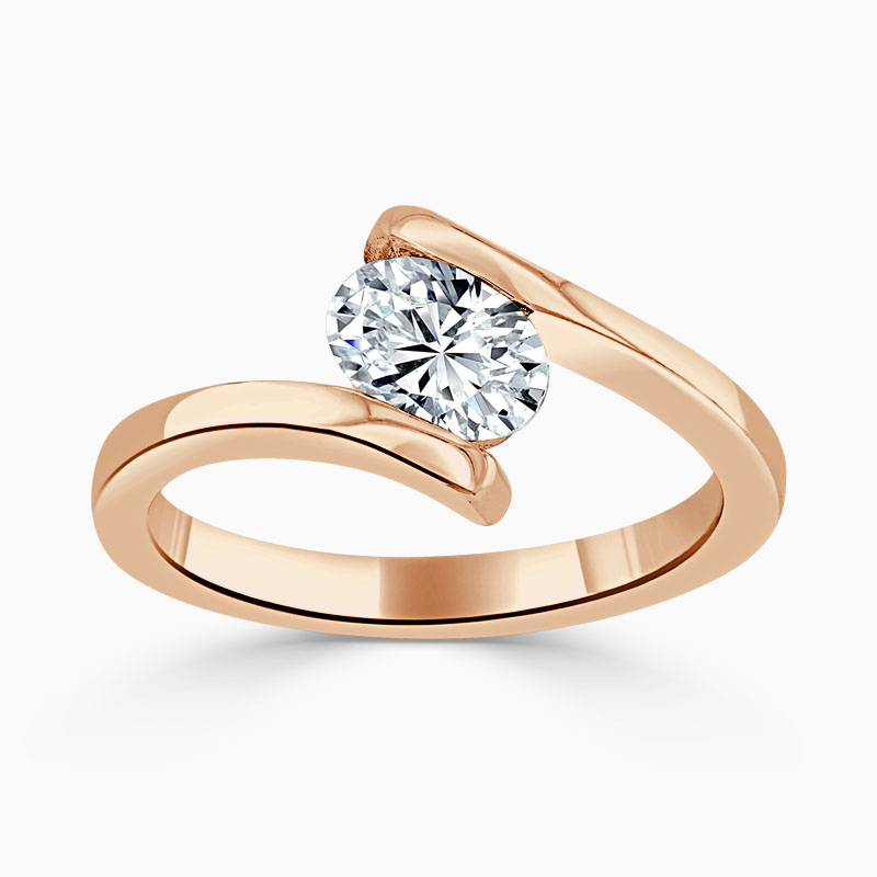18ct Rose Gold Oval Shape Crossover Engagement Ring