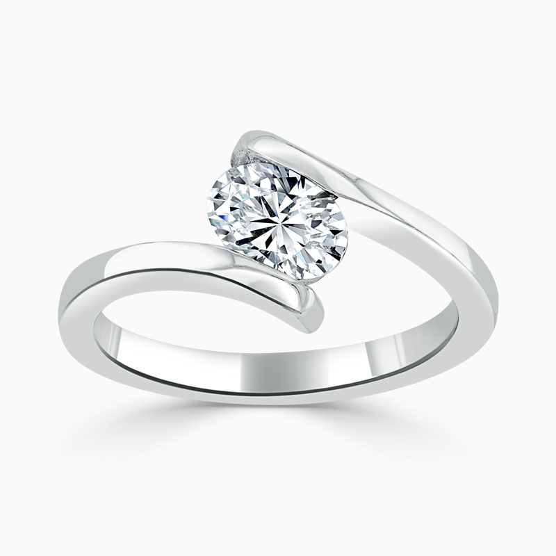 18ct White Gold Oval Shape Crossover Engagement Ring