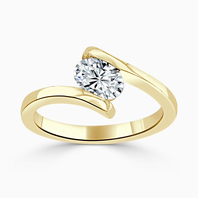 18ct Yellow Gold Oval Shape Crossover Engagement Ring