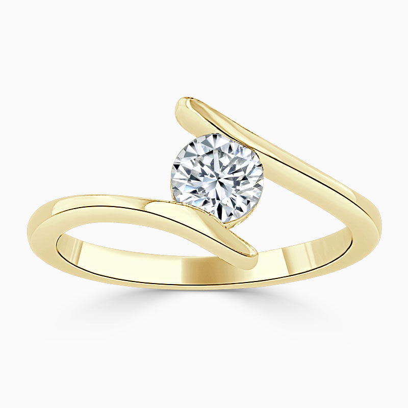 18ct Yellow Gold Round Brilliant Crossover Engagement Ring