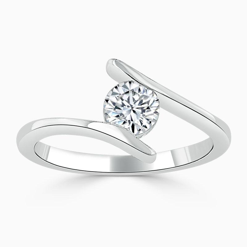 Platinum Round Brilliant Crossover Engagement Ring