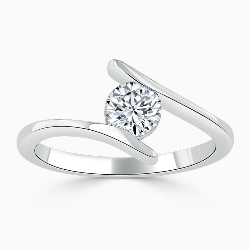 Platinum Round Brilliant Crossover Engagement Ring