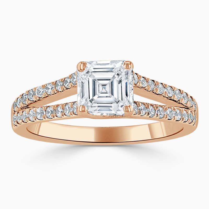 18ct Rose Gold Asscher Cut Cutdown Split Shoulder Engagement Ring