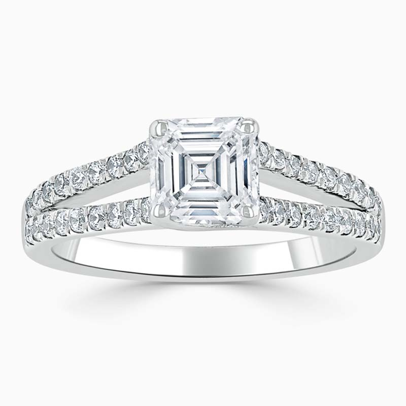 18ct White Gold Asscher Cut Cutdown Split Shoulder Engagement Ring