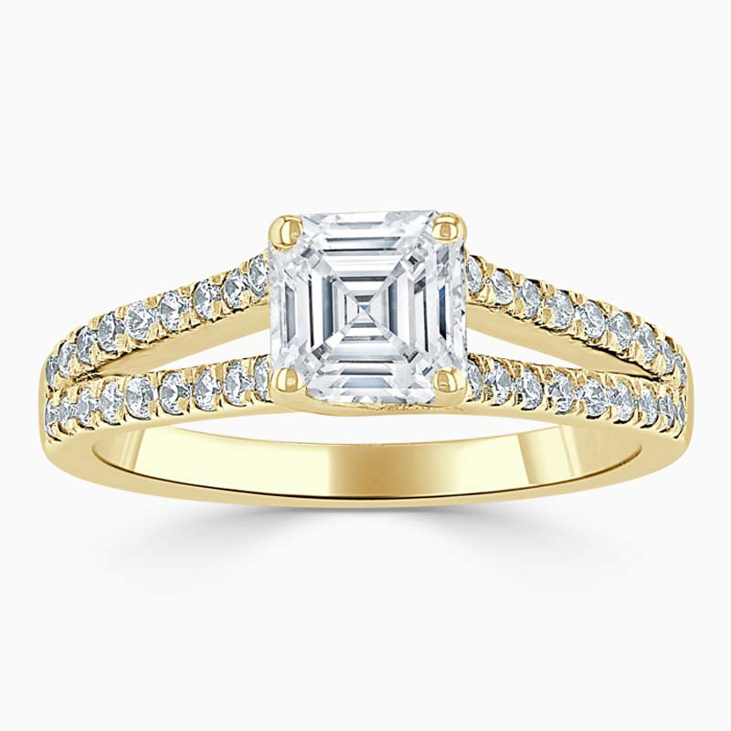 18ct Yellow Gold Asscher Cut Cutdown Split Shoulder Engagement Ring