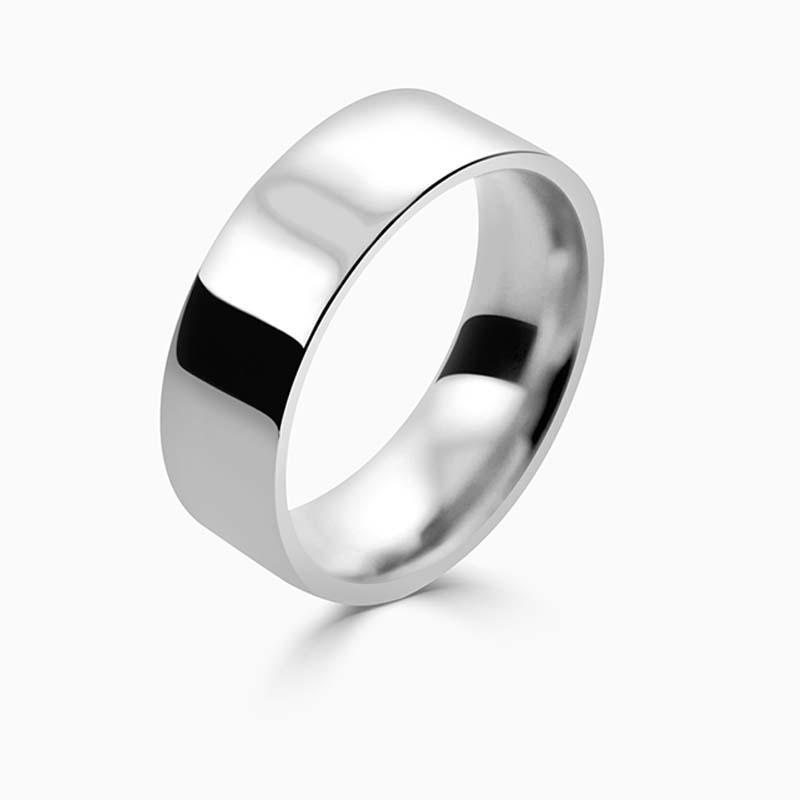 18ct White Gold 7mm Flat Court Flat Edge Medium Weight Wedding Ring