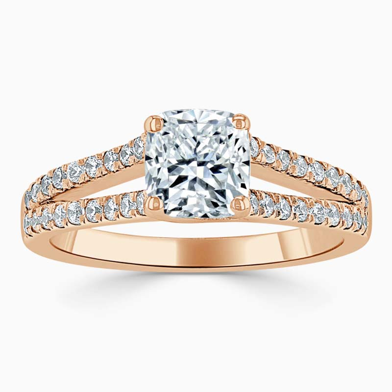 18ct Rose Gold Cushion Cut Cutdown Split Shoulder Engagement Ring