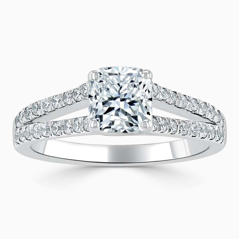 18ct White Gold Cushion Cut Cutdown Split Shoulder Engagement Ring