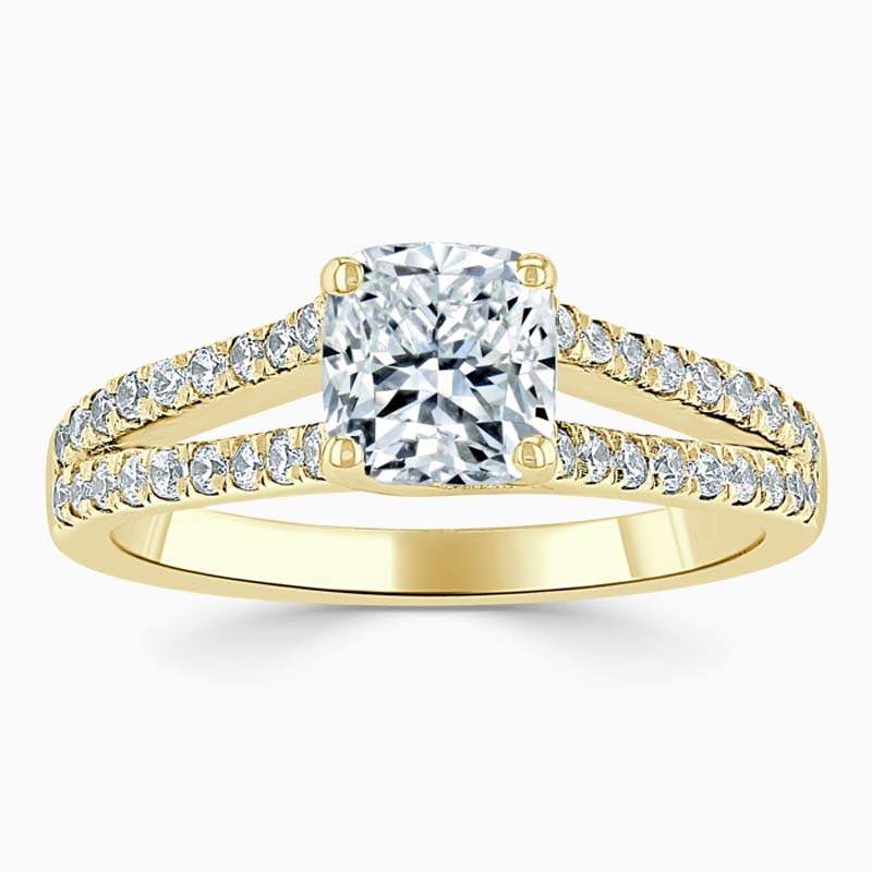 18ct Yellow Gold Cushion Cut Cutdown Split Shoulder Engagement Ring