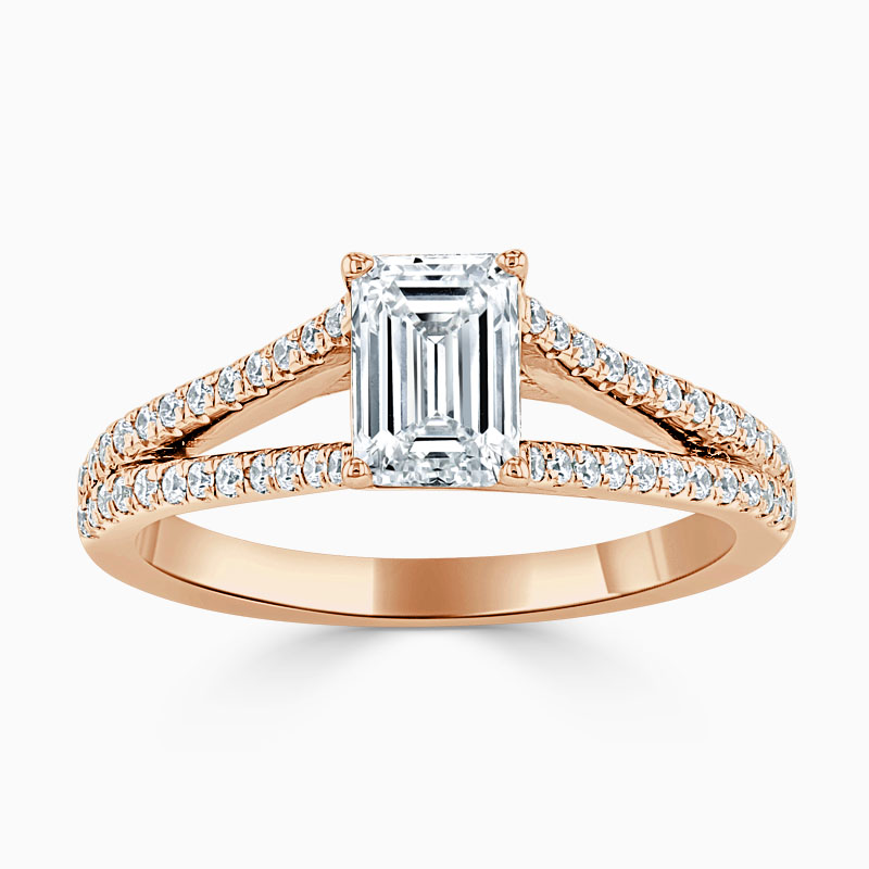 18ct Rose Gold Emerald Cut Cutdown Split Shoulder Engagement Ring