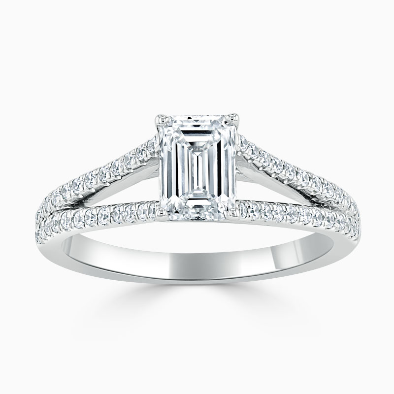 18ct White Gold Emerald Cut Cutdown Split Shoulder Engagement Ring