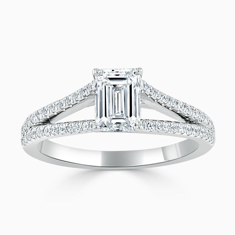 18ct White Gold Emerald Cut Cutdown Split Shoulder Engagement Ring