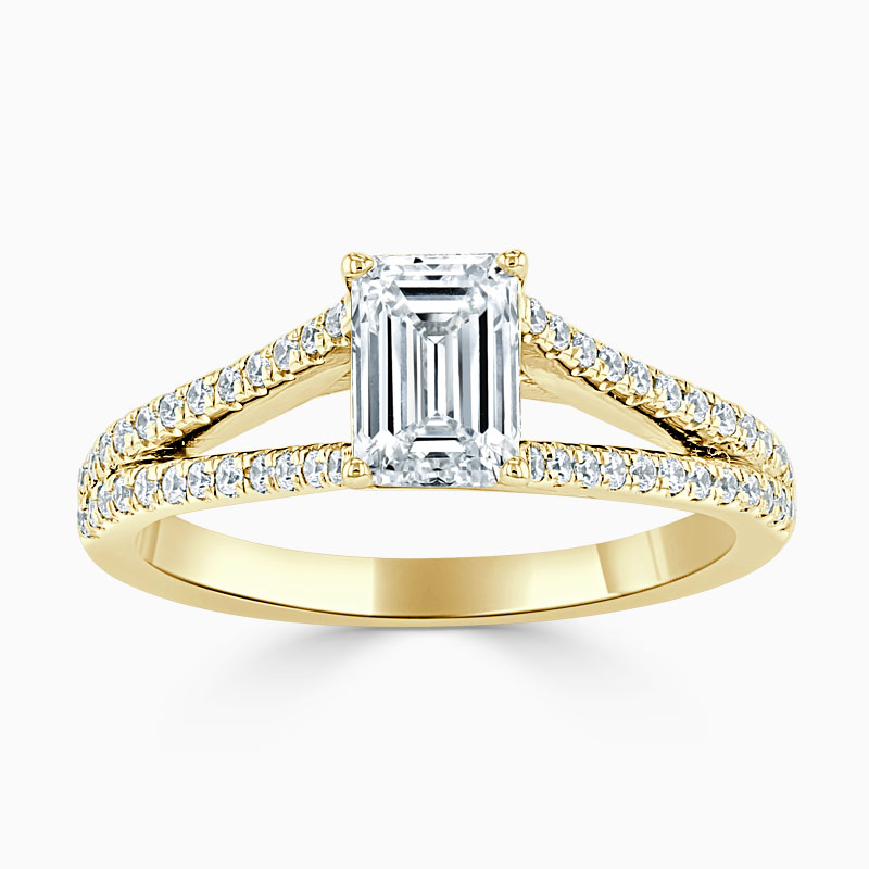 18ct Yellow Gold Emerald Cut Cutdown Split Shoulder Engagement Ring