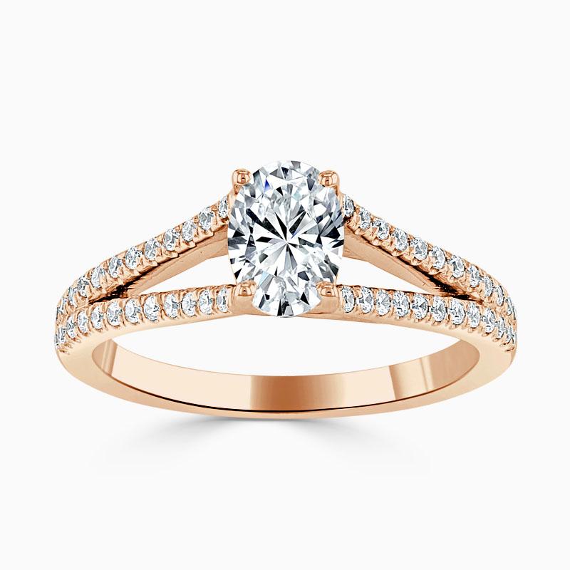 18ct Rose Gold Oval Shape Cutdown Split Shoulder Engagement Ring