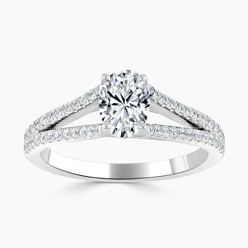 18ct White Gold Oval Shape Cutdown Split Shoulder Engagement Ring
