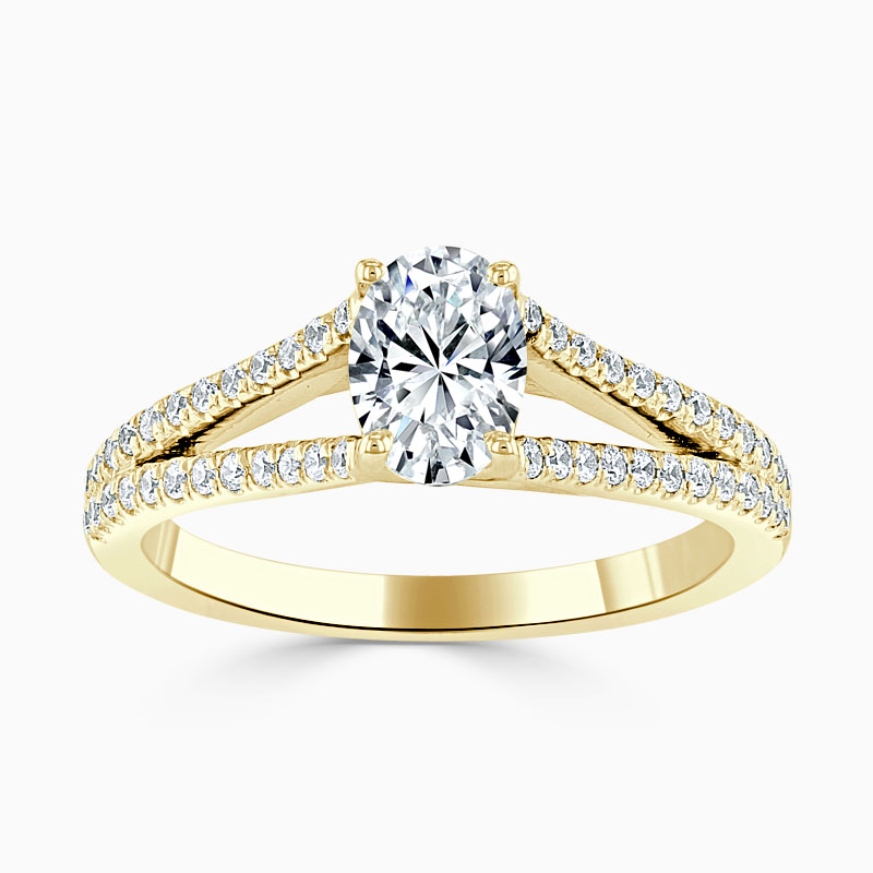 18ct Yellow Gold Oval Shape Cutdown Split Shoulder Engagement Ring