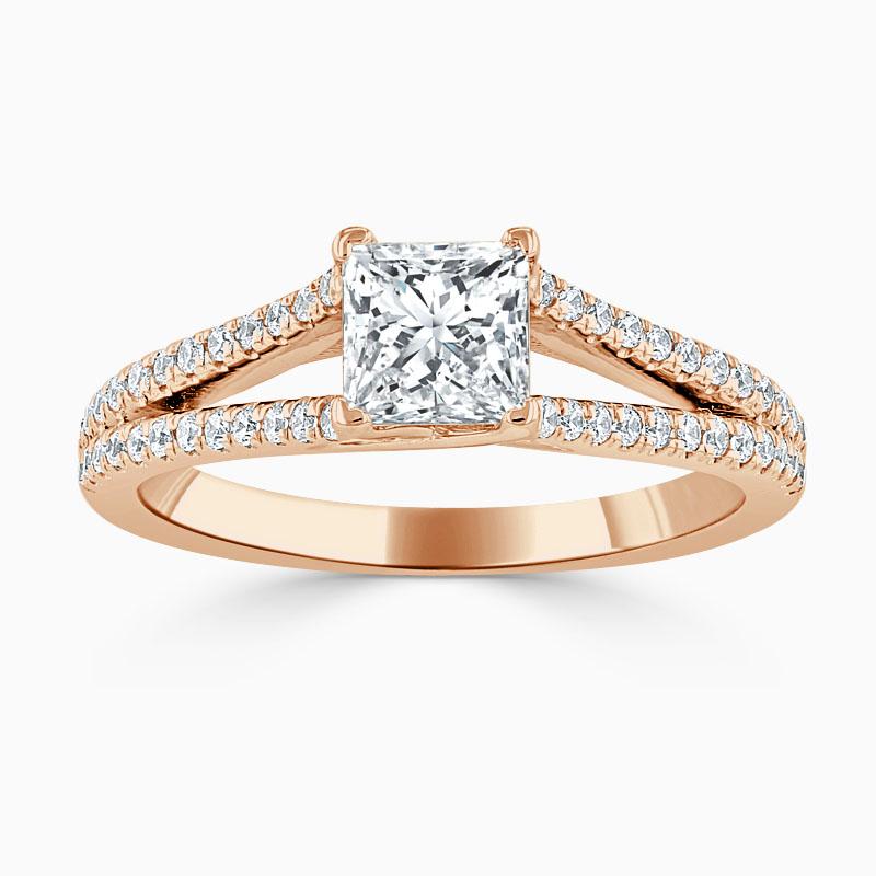 18ct Rose Gold Princess Cut Cutdown Split Shoulder Engagement Ring