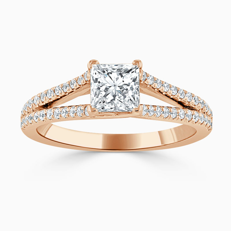 18ct Rose Gold Princess Cut Cutdown Split Shoulder Engagement Ring