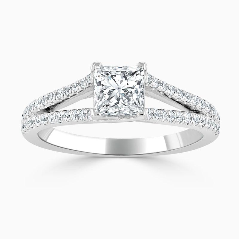 18ct White Gold Princess Cut Cutdown Split Shoulder Engagement Ring