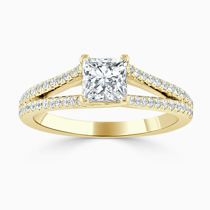 18ct Yellow Gold Princess Cut Cutdown Split Shoulder Engagement Ring