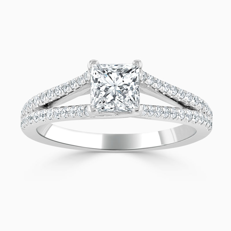 Platinum Princess Cut Cutdown Split Shoulder Engagement Ring