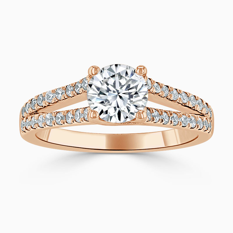 18ct Rose Gold Round Brilliant Cutdown Split Shoulder Engagement Ring