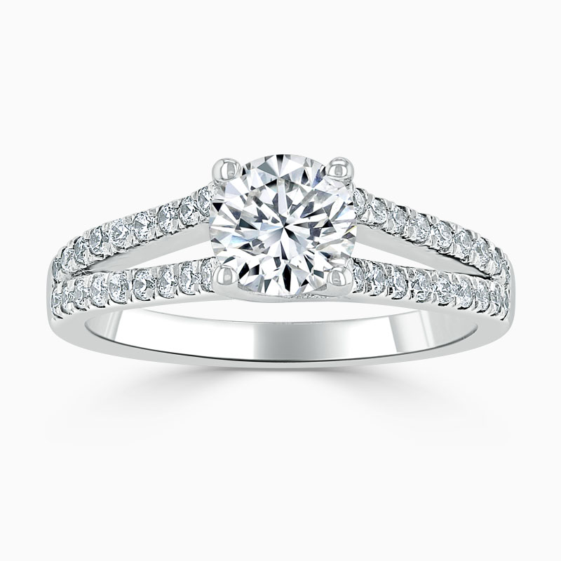 Platinum Round Brilliant Cutdown Split Shoulder Engagement Ring