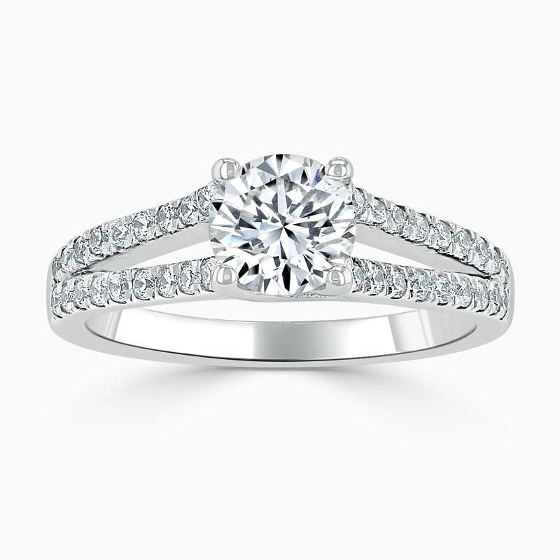 Platinum Round Brilliant Cutdown Split Shoulder Engagement Ring