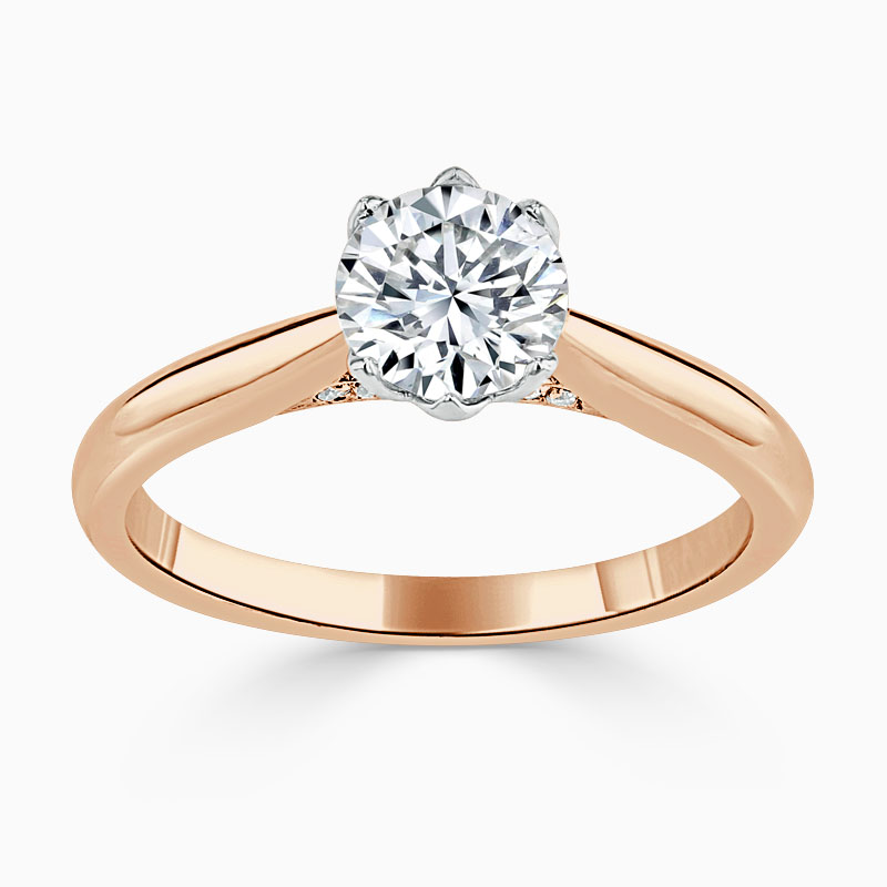 18ct Rose Gold Round Brilliant Diamond Set Lotus Engagement Ring