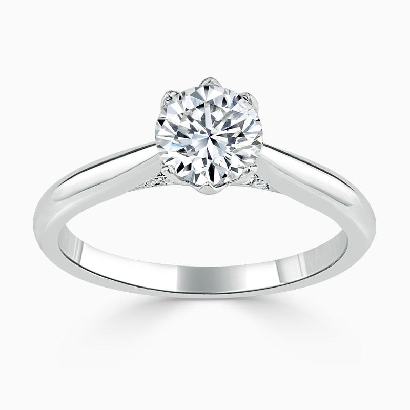 18ct White Gold Round Brilliant Diamond Set Lotus Engagement Ring