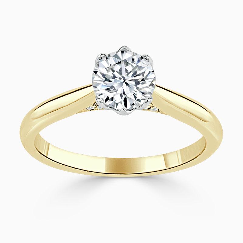 18ct Yellow Gold Round Brilliant Diamond Set Lotus Engagement Ring