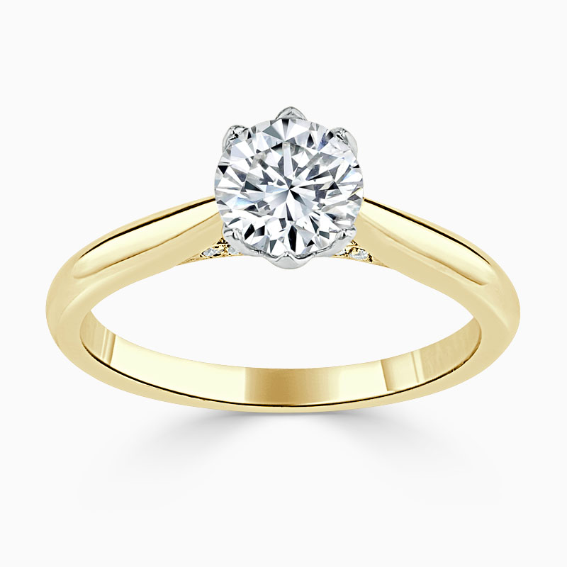18ct Yellow Gold Round Brilliant Diamond Set Lotus Engagement Ring