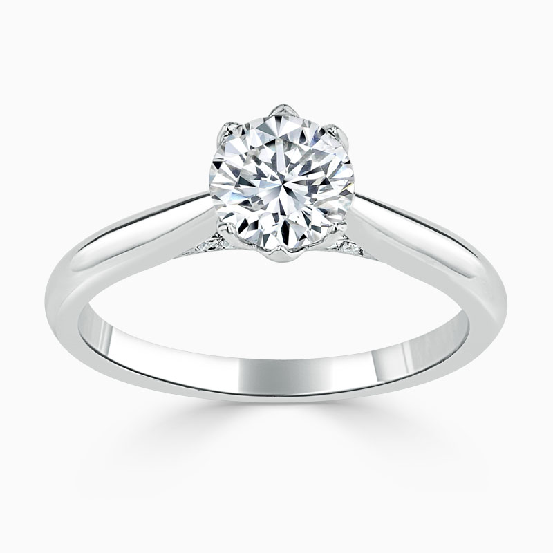 Platinum Round Brilliant Diamond Set Lotus Engagement Ring
