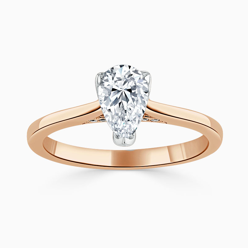 18ct Rose Gold Pear Shape Diamond Set Lotus Engagement Ring