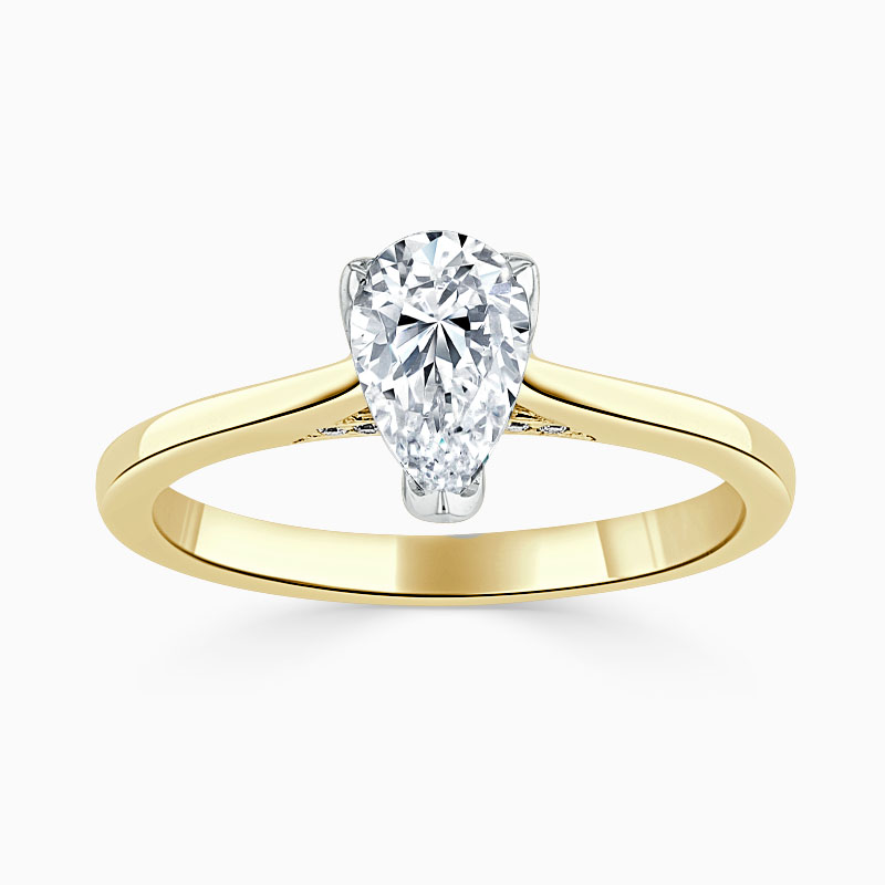 18ct Yellow Gold Pear Shape Diamond Set Lotus Engagement Ring