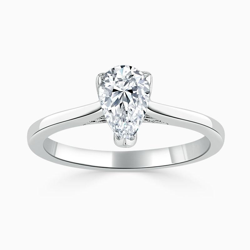 Platinum Pear Shape Diamond Set Lotus Engagement Ring
