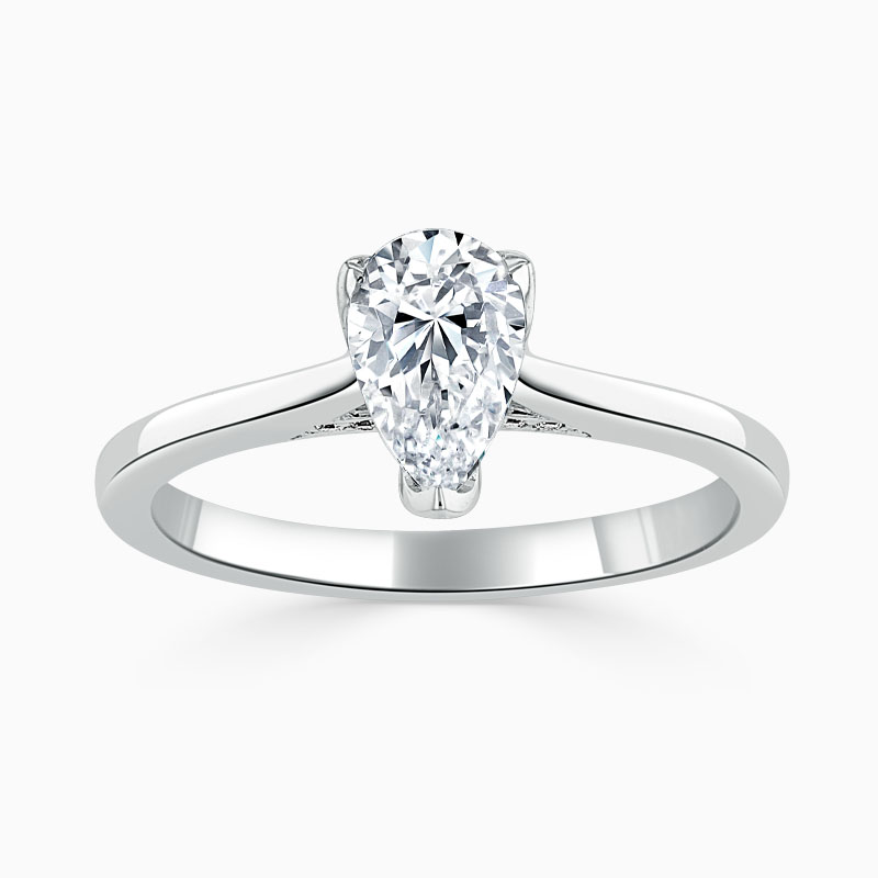Platinum Pear Shape Diamond Set Lotus Engagement Ring