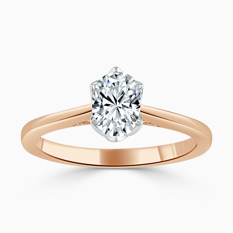 18ct Rose Gold Oval Shape Diamond Set Lotus Engagement Ring