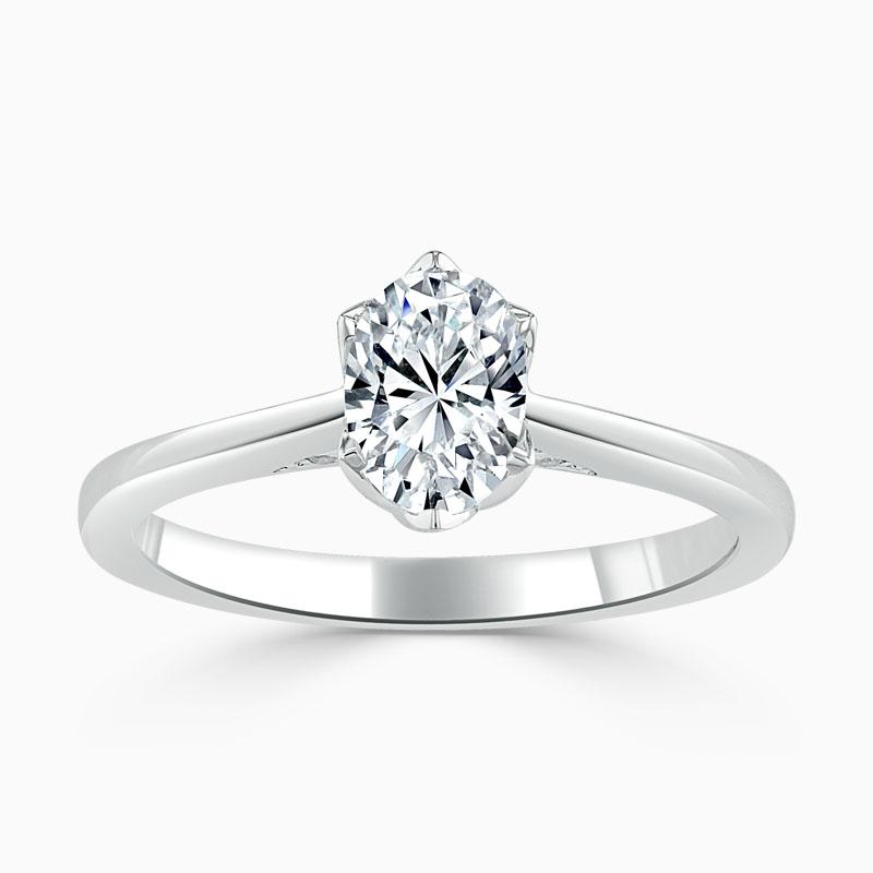 18ct White Gold Oval Shape Diamond Set Lotus Engagement Ring