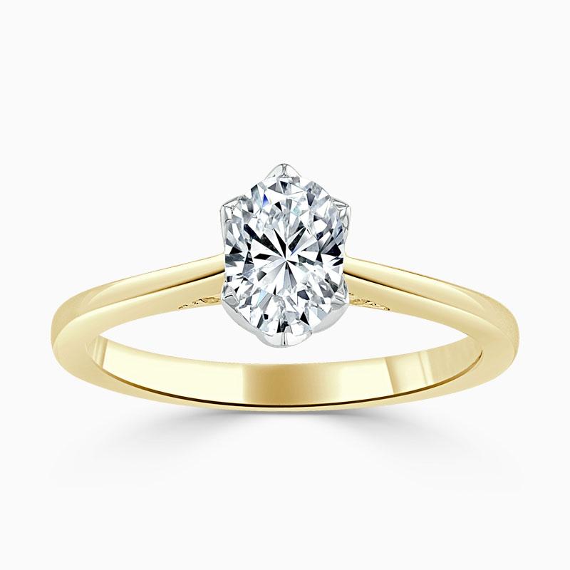 18ct Yellow Gold Oval Shape Diamond Set Lotus Engagement Ring