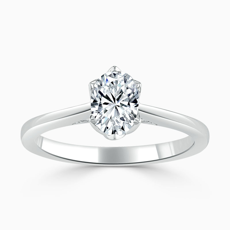 Platinum Oval Shape Diamond Set Lotus Engagement Ring