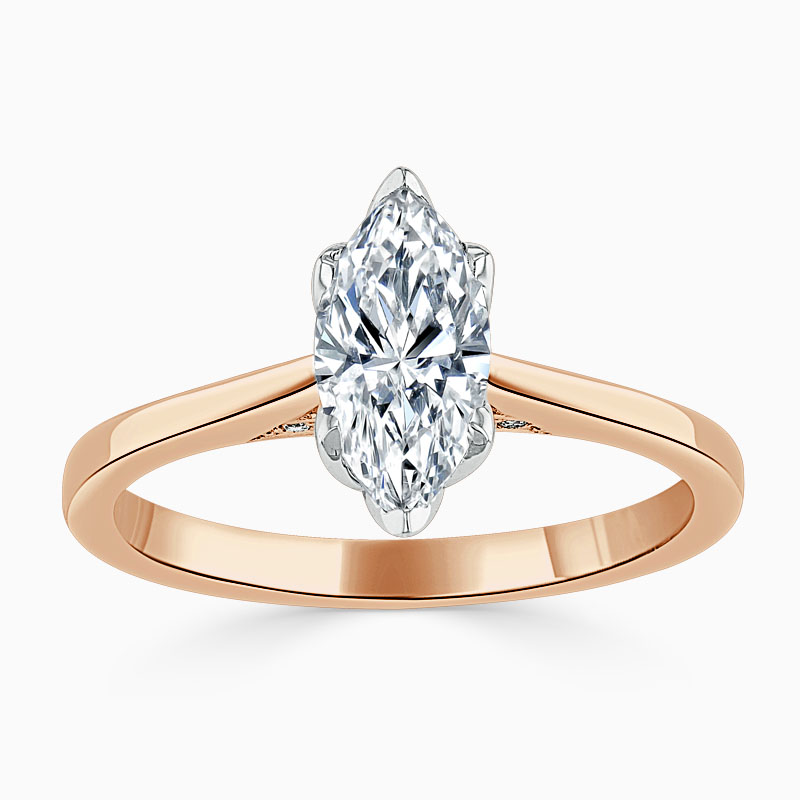 18ct Rose Gold Marquise Cut Diamond Set Lotus Engagement Ring